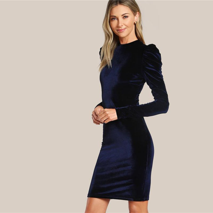 Navy Puff Sleeve Velvet Pencil Mini Dress