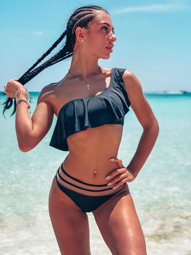 One Shoulder Lotus Leaf Mesh Waist bikini Set - zoviana