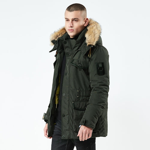 Fur Collar Windproof Hooded Down Parka
