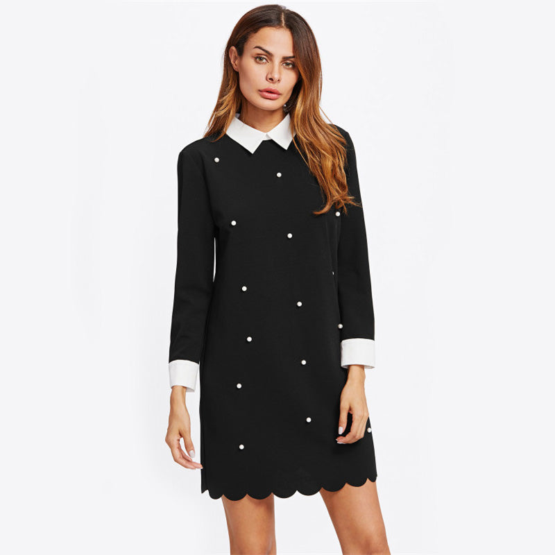 Pearl Beading Contrast Trim Scalloped Shift Dress