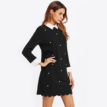 Load image into Gallery viewer, Pearl Beading Contrast Trim Scalloped Shift Dress
