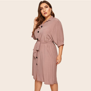 Pink Belted Half Sleeve Midi Shirt Dress - zoviana