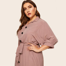 Load image into Gallery viewer, Pink Belted Half Sleeve Midi Shirt Dress - zoviana