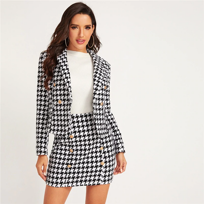 Shawl Collar Houndstooth Plaid Blazer and Bodycon Skirt Outfit