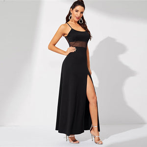 Split Spaghetti Strap Bodycon Long Dress - zoviana