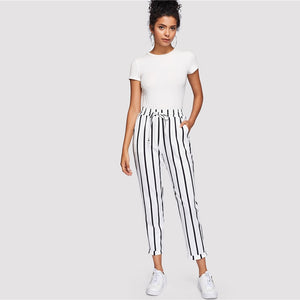 Striped High Waist Tapered Carrot Drawstring Pants - zoviana