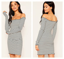 Load image into Gallery viewer, Striped Off Shoulder Bodycon Mini Dress - zoviana