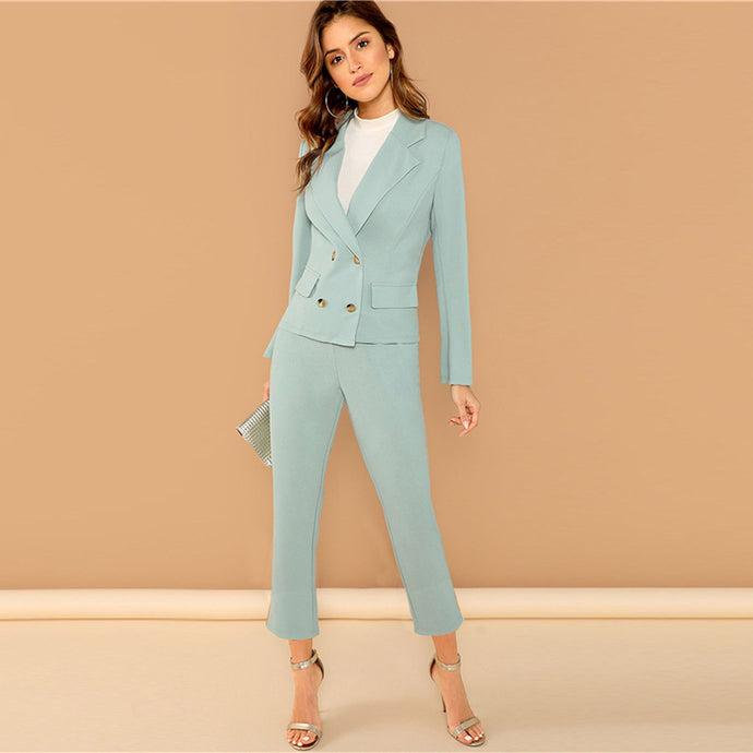 Turquoise Notched Collar Blazer And Pants Set