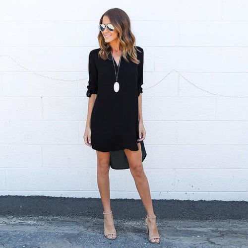 V-neck Half Sleeve Asymmetrical Shirt Dress