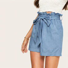 Load image into Gallery viewer, Blue High Waist Wide Leg Belted Denim Shorts - zoviana