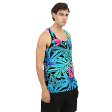 Load image into Gallery viewer, Men's Blue Jungle Leaves Tank