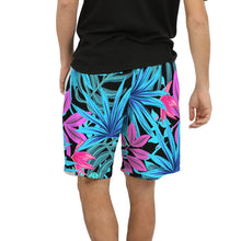 Load image into Gallery viewer, Men's Blue Jungle Leaves Swim Trunk