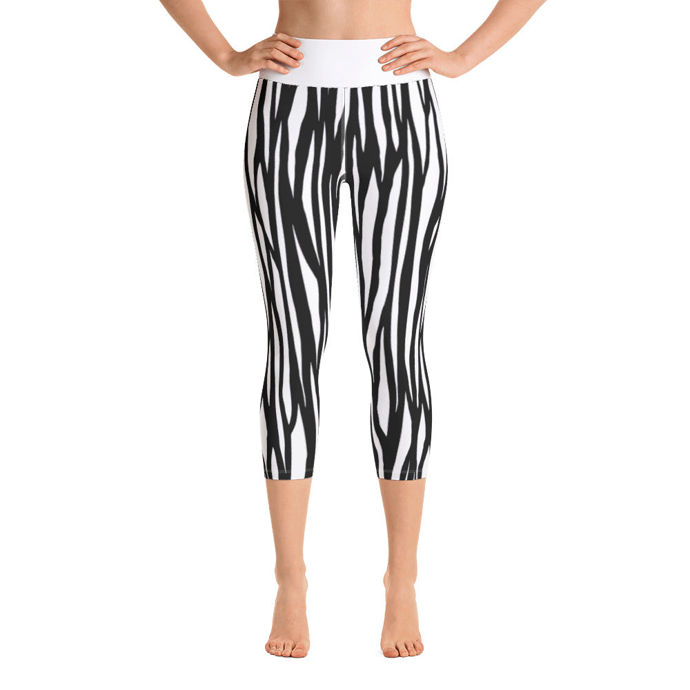 Yoga Zebra Capri Leggings - zoviana