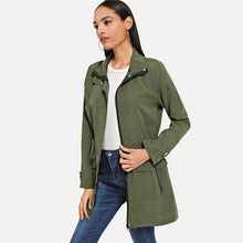 Load image into Gallery viewer, Women's Army Green Drawstring Waist Coat