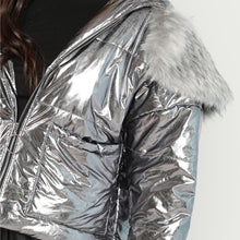 Load image into Gallery viewer, Silver Metallic Fur Hooded Jacket