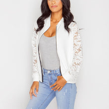 Load image into Gallery viewer, Women Lace Sleeve Transparent Zipper Basic Bomber Jacket - zoviana