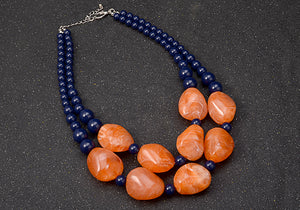 Bohemian Maxi Double Layer Chain Resin Gem Pendant Necklace - zoviana