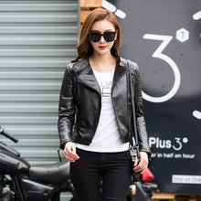 Load image into Gallery viewer, Women Black Punk Faux Leather Bomber Jacket - zoviana