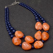 Load image into Gallery viewer, Bohemian Maxi Double Layer Chain Resin Gem Pendant Necklace - zoviana