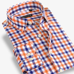 Men's Cotton Plaid Long Sleeve Slim-fit Button-Down Shirt - zoviana