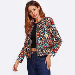 Women Button Placket Collarless Single Breasted Jacket - zoviana