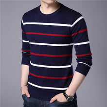 Load image into Gallery viewer, Men Striped O-Neck Cashmere Wool Sweater - zoviana