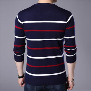Men Striped O-Neck Cashmere Wool Sweater - zoviana