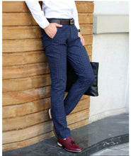 Load image into Gallery viewer, Men Plaid Pencil Pants Sanding Trousers - zoviana