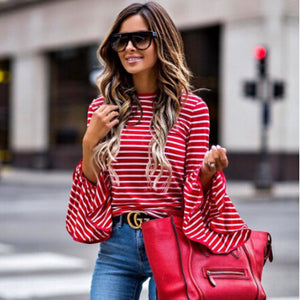 Vintage Cotton Striped Flare Sleeve Blouse Shirt - zoviana