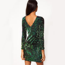 Load image into Gallery viewer, Green Sequined Backless Bodycon Mini Dress - zoviana