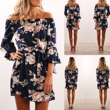 Load image into Gallery viewer, Women Boho Floral Off Shoulder Mini Dress - zoviana