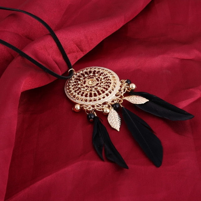 Bohemian Feather Long Beaded Black Chain Tassel Necklace - zoviana