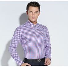 Load image into Gallery viewer, Men's Cotton Plaid Long Sleeve Slim-fit Button-Down Shirt - zoviana