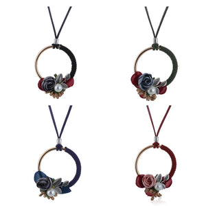 Women Flower Chain Maxi Pendant Necklace - zoviana