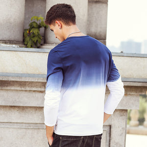Mens Blue O-Neck Long Sleeve Casual T-Shirt - zoviana