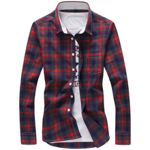 Load image into Gallery viewer, Men Plaid Turn-down Collar Long Sleeve Shirt - zoviana