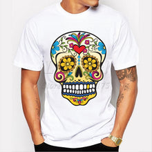 Load image into Gallery viewer, Men Skull Cotton O-neck Short Sleeve T Shirt - zoviana