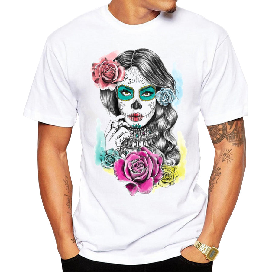 Men Flower Skull Day of the Dead Round Neck Short Sleeve T-Shirt - zoviana