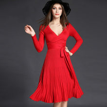 Load image into Gallery viewer, Women V-neck Bow Fold Pleated Dress - zoviana
