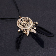 Load image into Gallery viewer, Bohemian Feather Long Beaded Black Chain Tassel Necklace - zoviana