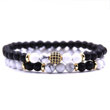 Load image into Gallery viewer, 2pcs/set Natural stone Micro Pave CZ Bead Bracelet