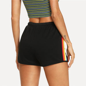 Striped Side Mid Waist Drawstring Shorts - zoviana