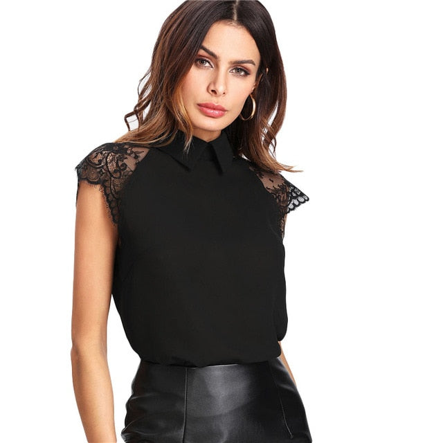 Women Black Floral Lace Cap Sleeve Plain Blouse - zoviana