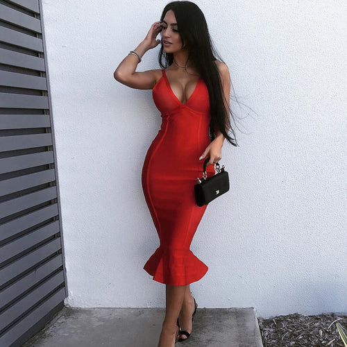 Women Bandage V-Neck Spaghetti Strap Mid-Calf Dress - zoviana