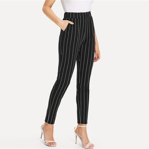 Stripped Elastic Mid Waist Cigarette Pants - zoviana