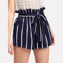 Load image into Gallery viewer, Belted Ruffle Waist Striped Boho Shorts - zoviana