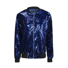 Load image into Gallery viewer, Women Sequined Long Sleeve Zipper Bomber Jacket - zoviana