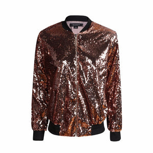 Women Sequined Long Sleeve Zipper Bomber Jacket - zoviana