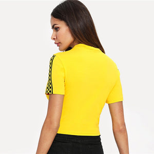Yellow Mock Neck Plaid Panel Short Sleeve T-shirt - zoviana