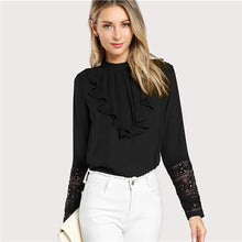 Load image into Gallery viewer, Black Flounce Neck Lace Cuff Ruffle Sleeve Blouse - zoviana